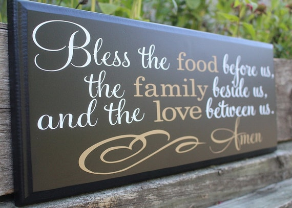 bless the food before us wood sign-dining room wall