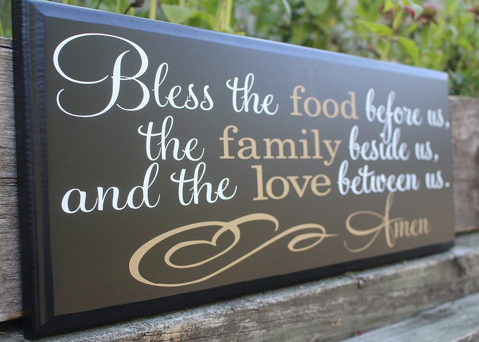 Bless the food before us wood sign dining room wall - Plaque decorative cuisine ...