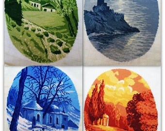 Authentic Wiehler Needlepoint Original Vintage Gobelin Four Seasons Collection Lot of Four Art Picture Summer Autumn Winter Spring