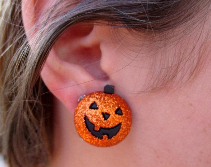Pumpkin earrings-Fall earrings-Halloween earrings-Glittery Jack-o-lantern studs-pumpkin jewelry-clip on earrings-cute teen party favors-kids
