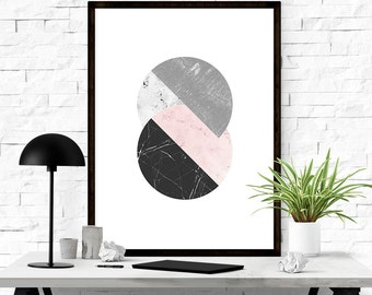 Abstract art print, Mid century modern art, Abstract circles, Trending art, Geometric wall art, Modern abstract Circle art, Contemporary art