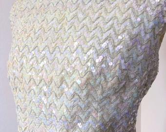 Vintage 50's Creme Iridescent Sequin Top
