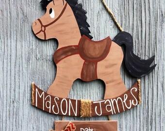 Rocking Pony Wooden Door Hanger - Baby Girl Rocking Pony Decor - Baby Boy Western Door Hanger