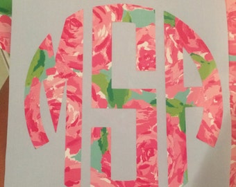 """Lilly Pulitzer Inspired """"First Impression"""" Monogram Decal 2"""" 3"""" 4"""" 5"""" and 6"""""""