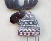 Christmas moose, interior toy, wooden toy, Christmas, Scandinavian, vinous, brown, Christmas decor, cottage decor
