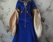 Blue and Gold Fantasy Medieval Gown/Dress for SD/Delf/Super Dollfie/Feeple 60 and similar dolls