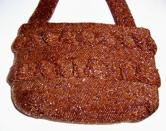 1940's Copper Beaded, Single-Handled, Handbag
