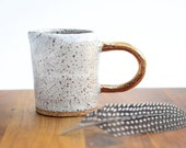 GALAXY JUG - Pourer - Speckled Stoneware Clay - Milky White Glaze - Copper Lustred Handle - Made to Order - Free Postage Australia Wide