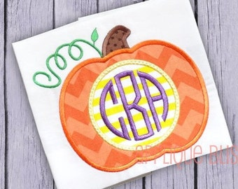 Monogram Pumpkin Digital Halloween Applique Design - Machine Embroidery - Halloween Embroidery Design - Circle Monogram - Download