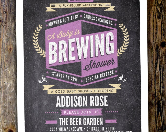 Coed baby shower invitation- Beer baby shower invitation- couples baby shower - girl baby shower - boy baby shower, baby is brewing, BBQ