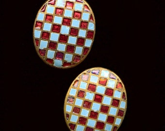 Vintage Japanese checkerboard enameled brass domed cabochons, 12x10mm Pkg of 2. b5-644(e)