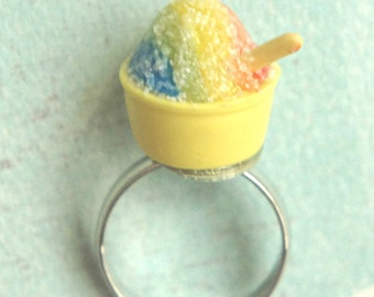 shaved ice ring- ice cream ring, miniature food jewelry, food ring, snow cone ring