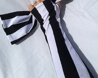 Armies -- arm warmers -- black and white striped, with thumbholes