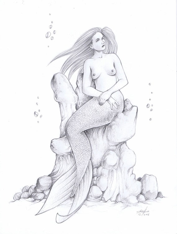 Items Similar To Mermaid Pencil Drawing By Jesse Thomas 9 By 12