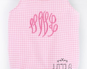 Monogrammed Gingham Baby Bubble Romper, Girly Gingham baby bubble romper, Summer/Spring Baby Bubble Romper, Girly Monogram Romper
