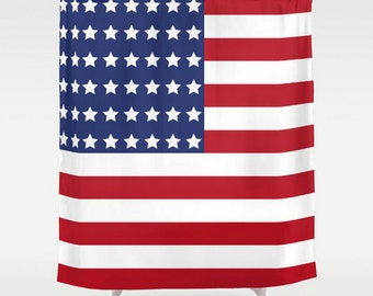 American Flag Shower Curtain, Large Shower Curtain, Stripes Curtain, Patriot Shower Curtain, Flag Shower Curtain, Shower Curtain 71x74