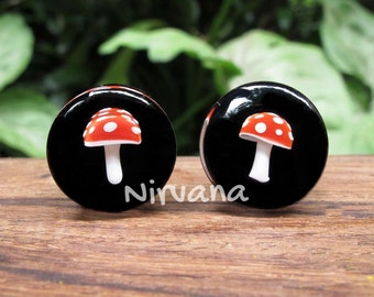 "Magic Mushroom Plugs Pyrex Glass Red with White Spots and Black Background Color  00g 7/16"" 1/2"" 9/16"" 5/8"" 3/4"" 1"" 5 mm 6 mm 8 mm - 25.4 mm"