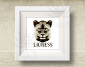 LIONESS Print, lioness Art, Geometric lioness Print, polygon animal, Origami lioness Print, lioness head, Triangle lioness head