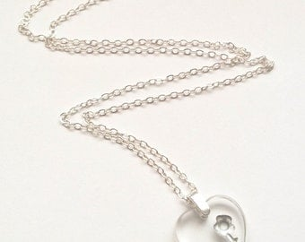 Czech Glass Heart Necklace - Clear Glass Heart Necklace - Valentine Necklace - Heart Necklace - Heart Jewelry