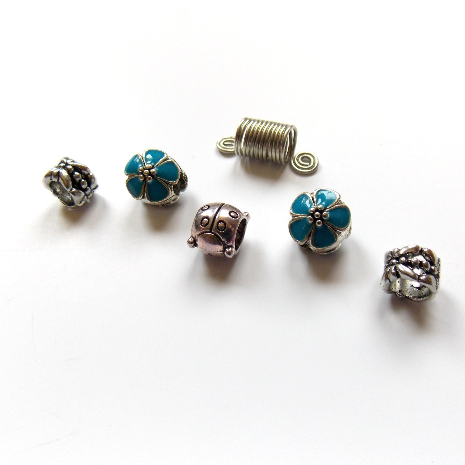 Charm blue flowers beads Set beard dreadlock beads by ...