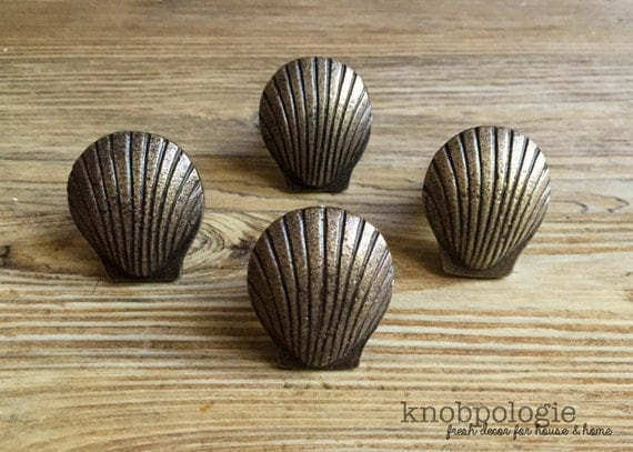 Natural Bronze Clamshell Knob Drawer Pull Sea Shell Clam