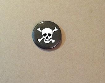 Skull and Crossbones Pinback Button Goth Punk