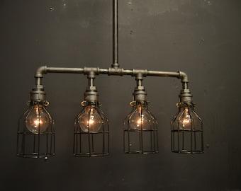 Steampunk Light - Kitchen Light -Ceiling fixture - Chandelier - Steel Light - Light Fixture - Lighting - Pipe fixture- Industrial light