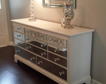mirrored dresser white with quatrefoil overlay without mirror on the tops and sides shabby chic