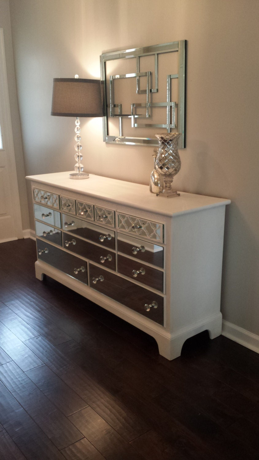 Mirrored Dresser White With Quatrefoil Overlay Without Mirror