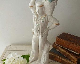 Antique French bisque figurine, grape-picker REDUCED