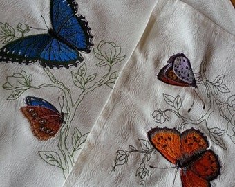 napkins, embroidered, butterflies,