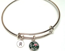 Golf Bangle Bracelet, Adjustable Expandable Bangle Bracelet, Golf Charm, Golfer Jewelry, Gift for Golf Lover, Golfer Bracelet, Golf Player