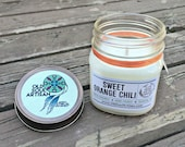 Sweet Orange Chili Soy Candle, Vegan Candle, Hand Poured Soy Candle, Scented Candle, Gift Jar Candle, White Candle, Bohemian Feather Charm,