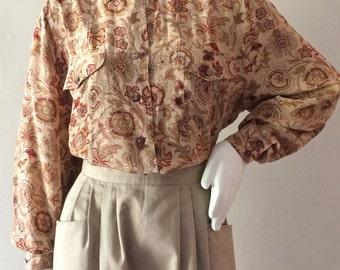 Vintage Escada Fall Floral Paisley Silk Button Up Blouse SIZE M/L