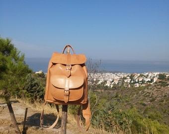 Leather Rucksack, Full Grain Leather Backpack - Satchel. Handmade Satchel.