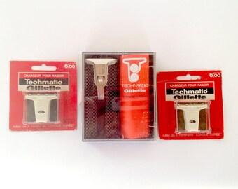 Razor vintage GILLETTE TECHMATIC - Safety Razor + set of 2 razor blade Band