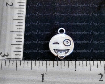Charms - Silver Charms - Cute Charms - 10 Silver Icon Charms - Smiley Face Charm - Fun Emoticon Charms - Diy Jewelry Charms - CH-S016