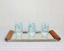 3 large water glasses Arcopal blue Forget me not Veronica 70s /Vintage Home deco / Holy10