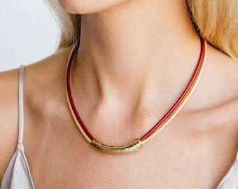 Leather necklace, Red necklace, Gold tube necklace, Statement necklace, Choker necklace, Stylish necklace, Women necklace, Short necklace.