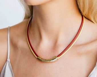 Gold necklace for women, Leather necklace, Red necklace, Statement necklace, Choker necklace, Stylish necklace, Women Short necklace.