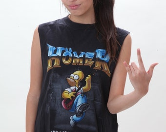 simpson's live large rock hard muscle cropped tee