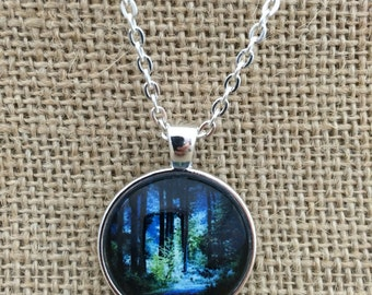 Walk in the Woods Glass Pendant Necklace with Chain- Easter Gift, Mother's Day Gift, Friend Gift, birthday gift