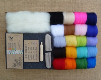 Needle felting kit - FREE bee tutorial!!! - starter kit - rainbow - felting needles - miniatures -merino wool - yarn - roving