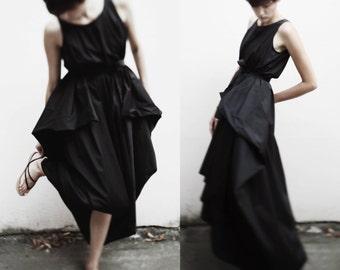 Black asymmetrical maxi dress/ avant garde maxi dress/ loose fitting dress/ onesize dress/ japanese style dress/ summer long dress