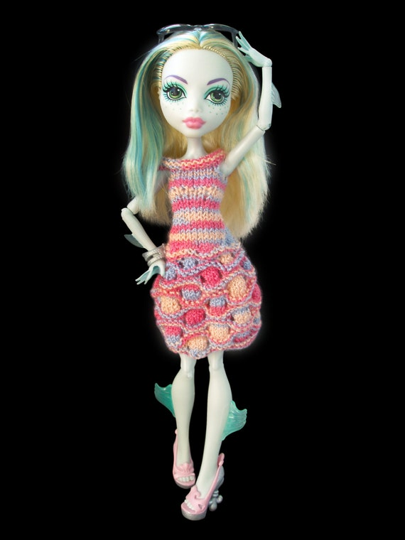 Knitting Patterns For Monster High Dolls : PDF Pattern High Fashion Monster Doll Clothes. Knitted Dress