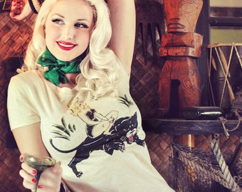Queen of the Jungle Tshirt size S, M, L,XL,2XL,3XL Heather beige Rockabilly Pinup girl Vintage inspired by Mischief Made