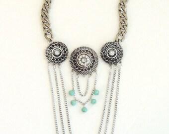 Boho necklace, Bohemian necklace, Layering necklace, Vintage necklace, Fringe necklace, Statement necklace