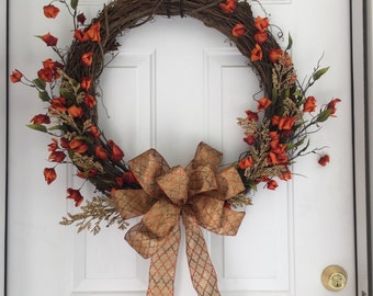 Grapevine Wreath - Fall Decoration ~ Porch Decoration ~ Front Door Hanging