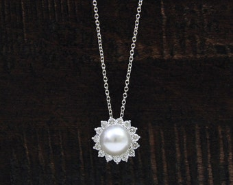 White Simulated Pearl-Halo Pendant Necklace-0.38 ct Brilliant Cut Diamond Simulants-Bridal Necklace-Solid Sterling Silver [4605]