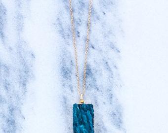 Blue Rectangle Quartz Pendant Necklace